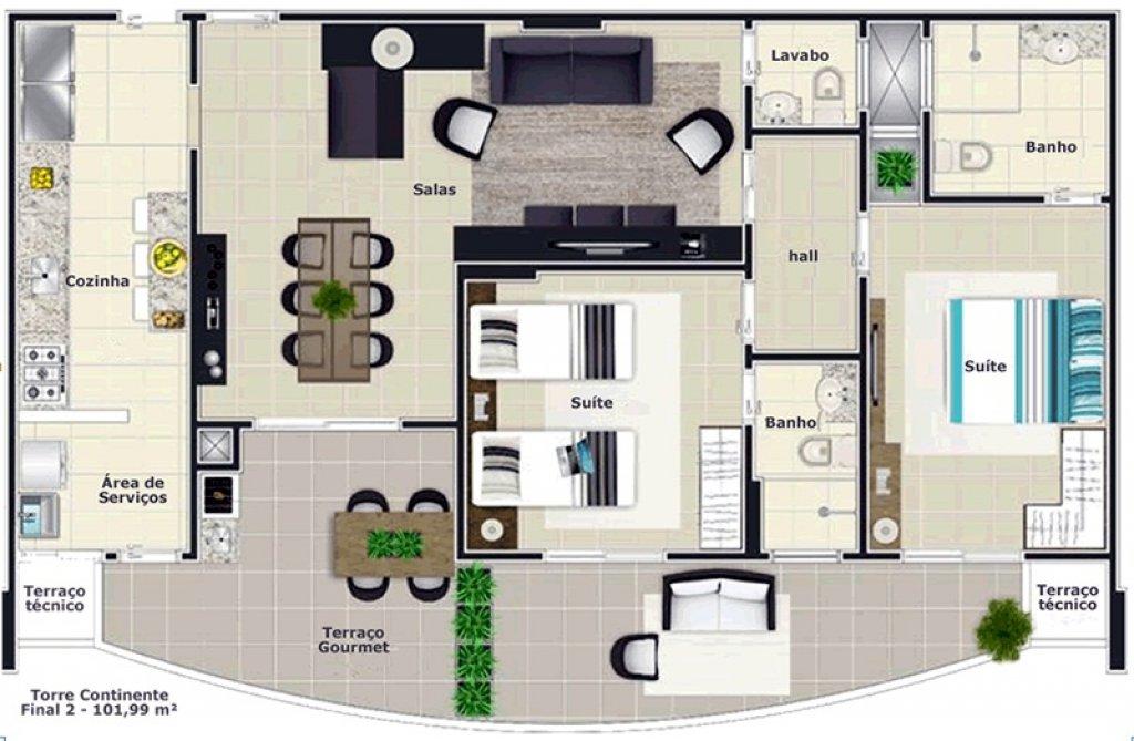 do apartamento com 2 dormitórios em Vila Caiçara - Praia Grande