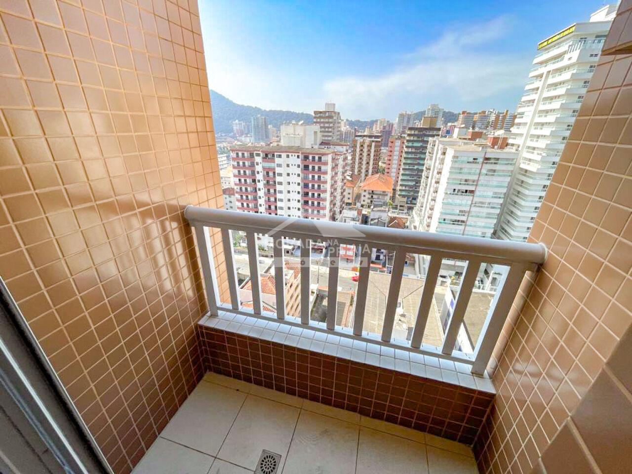 Sacada suíte e dormitório do apartamento com 3 dormitórios em Canto do Forte - Praia Grande