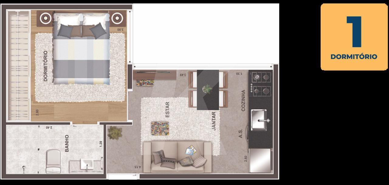 Comprar - Condomínio - Tremembé - 1 dormitórios.