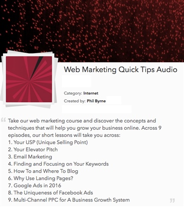 Phil Byrne : Web Marketing Quick Tips Audio Course