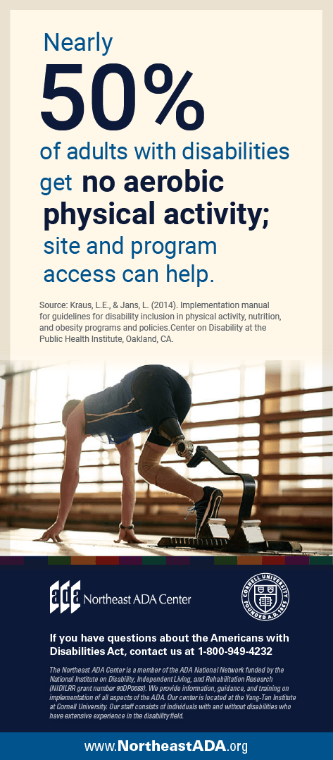 Infographic featuring a man with a fitness prosthesis getting ready to run in a gym.
