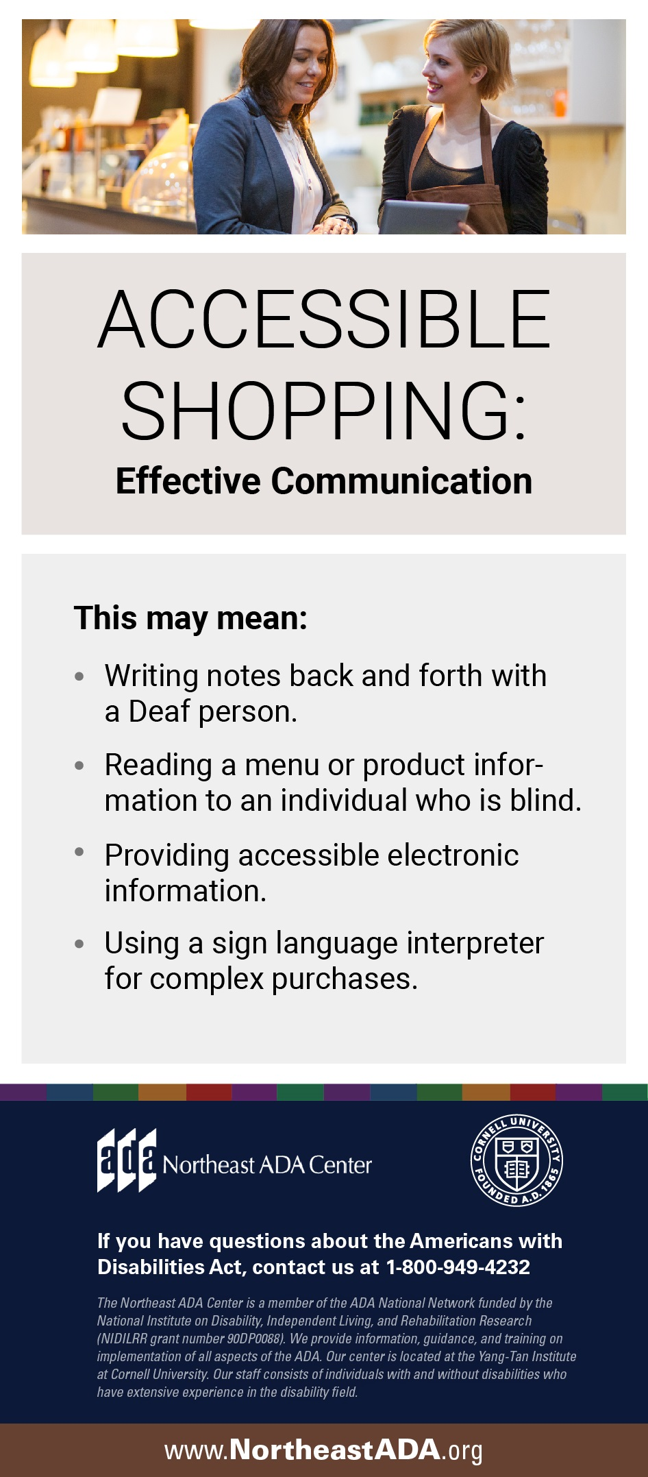 "Infographic titled ""Accessible Shopping: Effective Communication"" featuring two women looking at a tablet in a store.