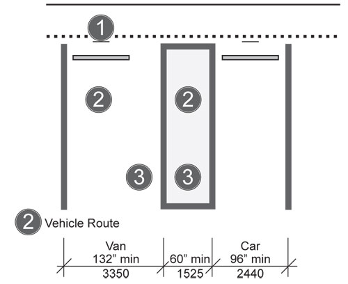 Van-Accessible Parking Space with 60-inch Minimum Width Access Aisle