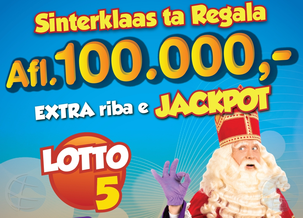 Sinterklaas a agrega 100 mil florin extra na Lotto 5 jackpot tambe!