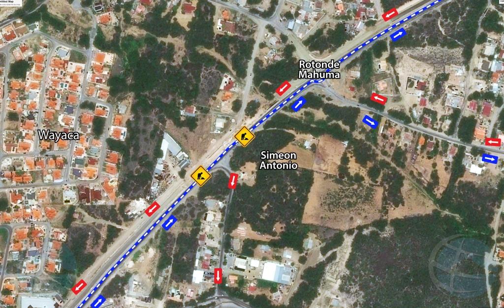 Trabou di DOW y Setar riba ruta rotonde airport-Mahuma diasabra