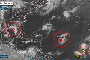 Area di Caribe a bira activo atrobe cu varios sistema tropical