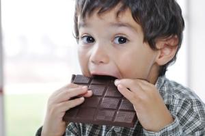 kid eating chocolate