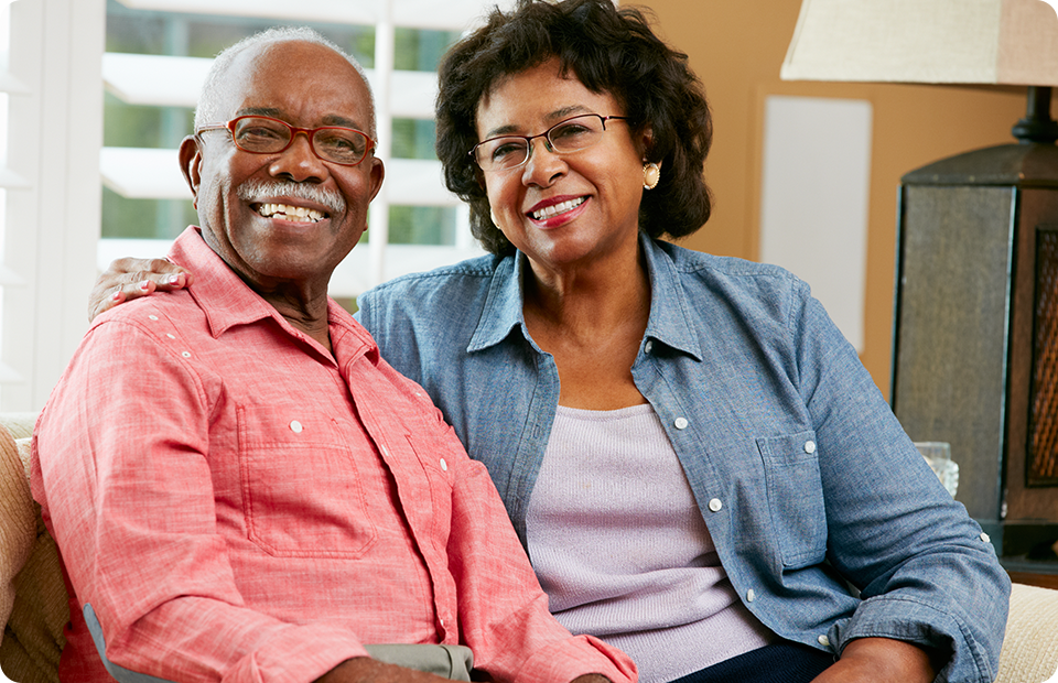 Senior couple wearing eyeglasses