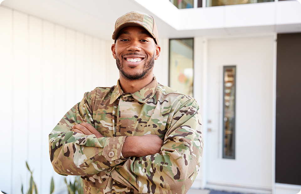 Smiling military guy
