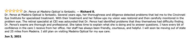 Dr. Malinda Pence Medical Optometrist Review