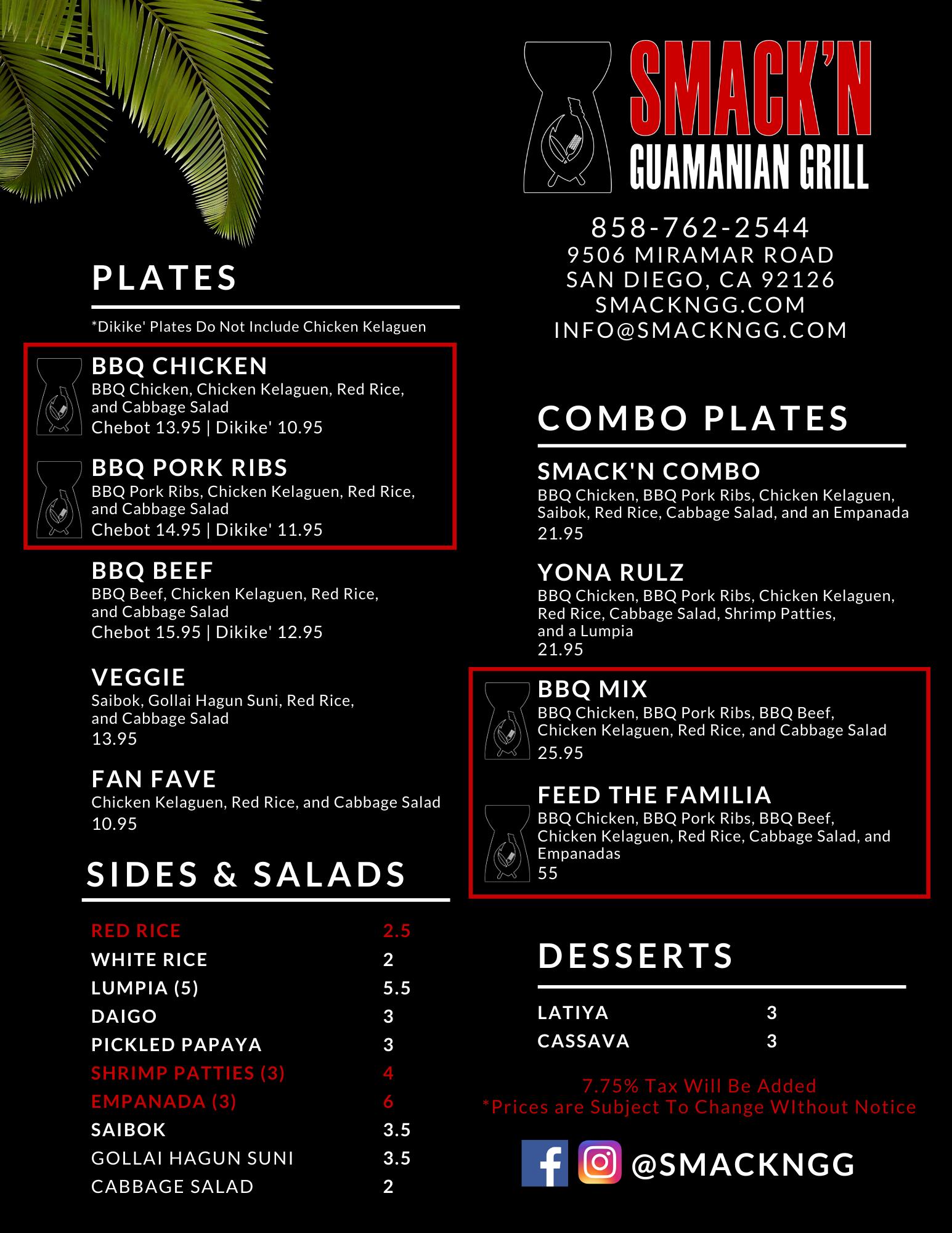 Smack'n Guamanian Grill Menu