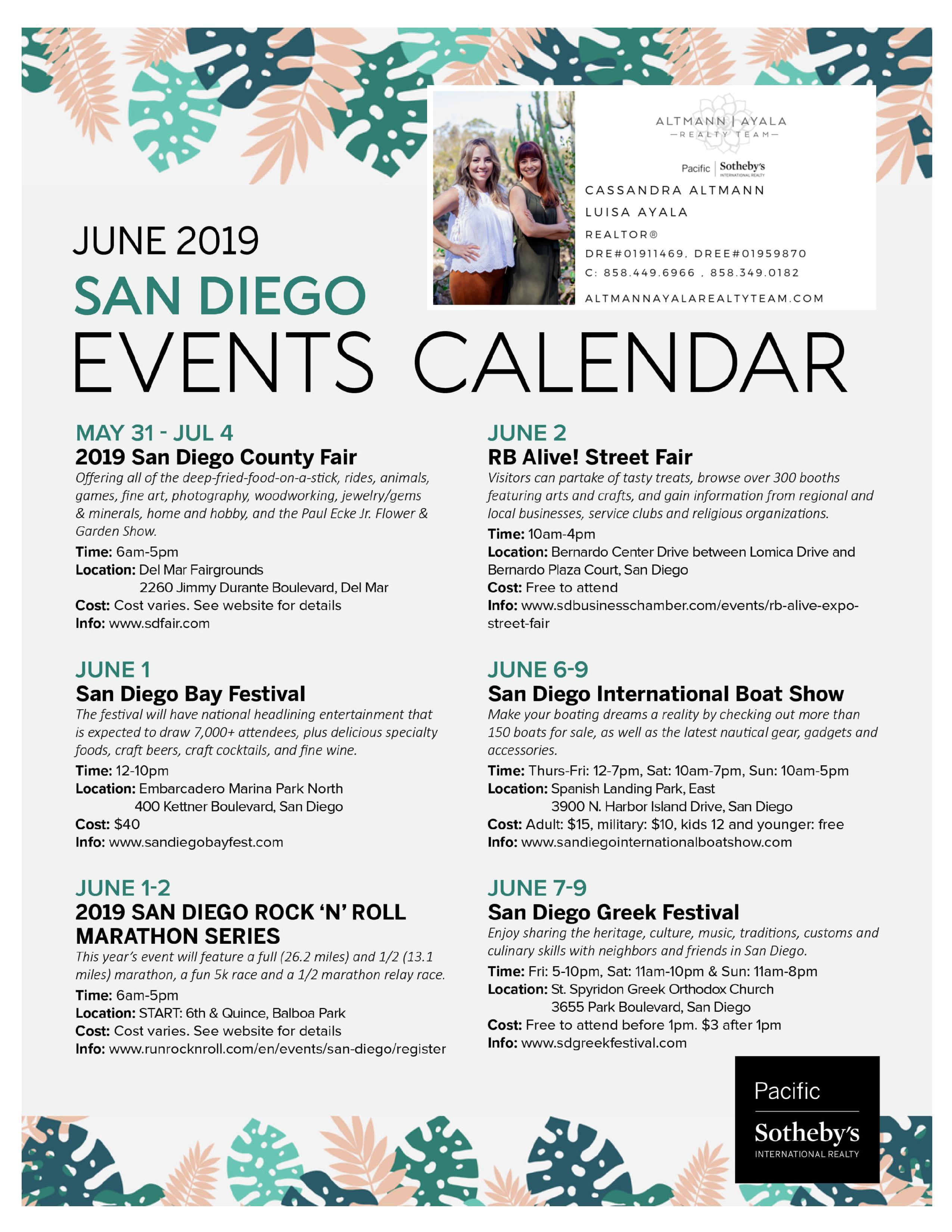 June 2019 San Diego Events Calendar