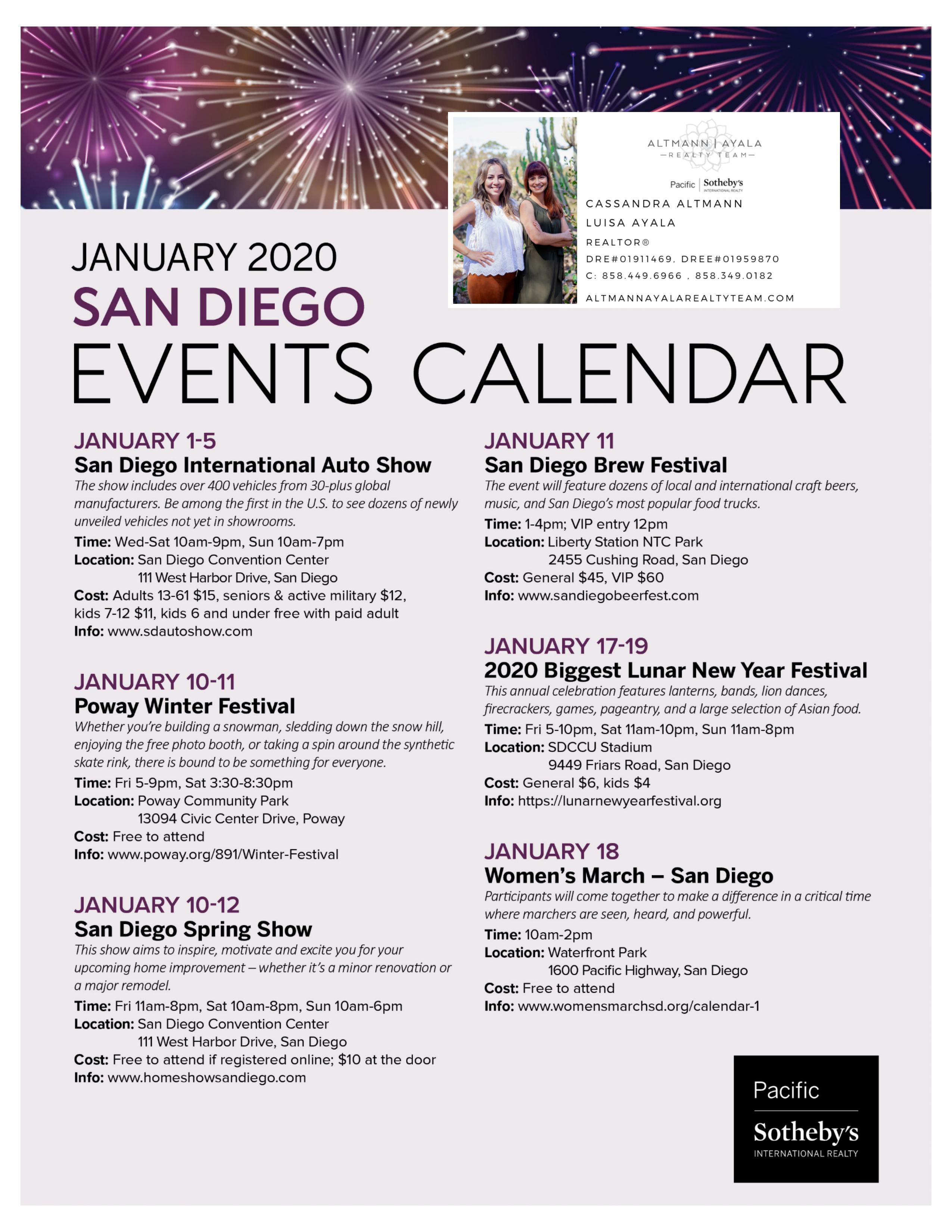 January 2020: San Diego Event Calendar
