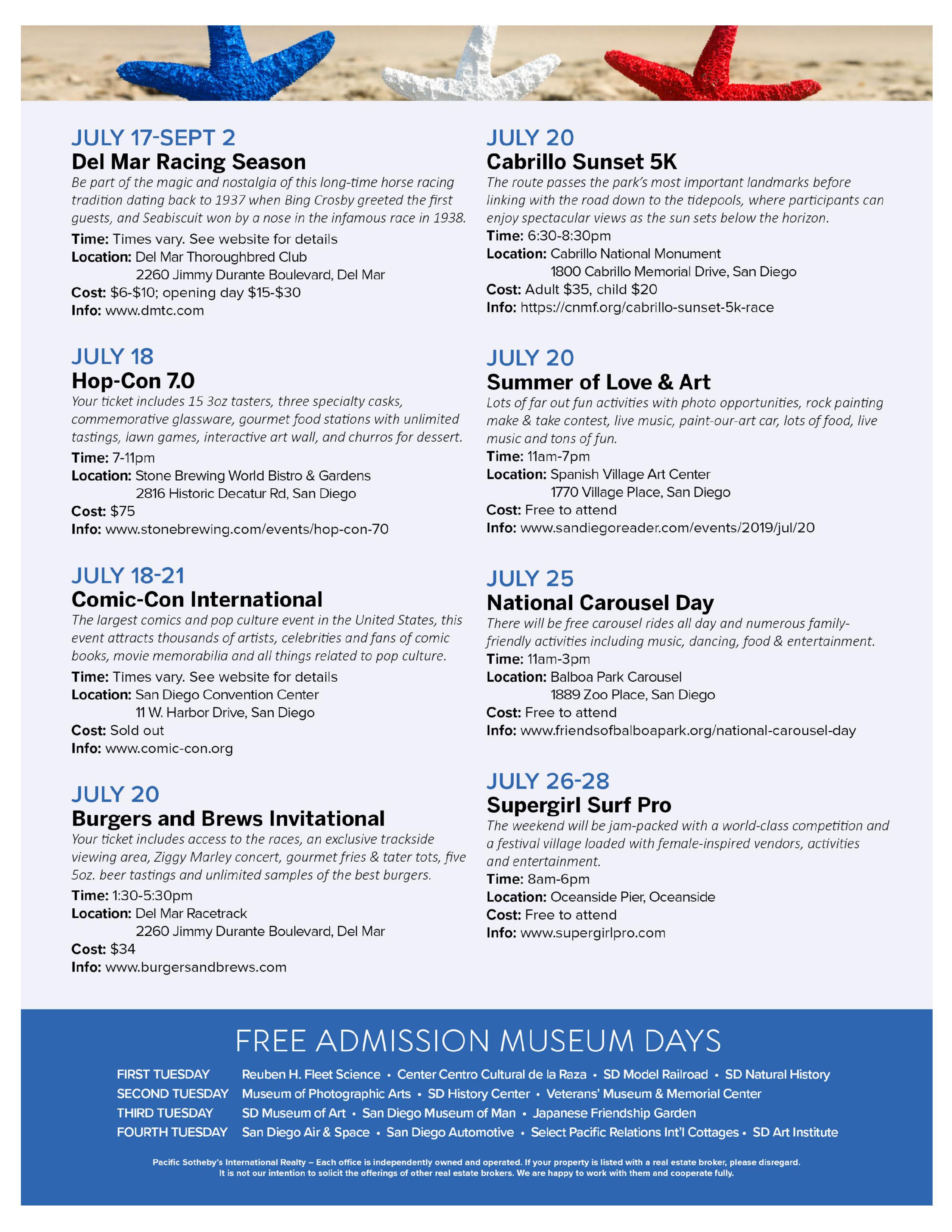 July 2019 San Diego Events Calendar