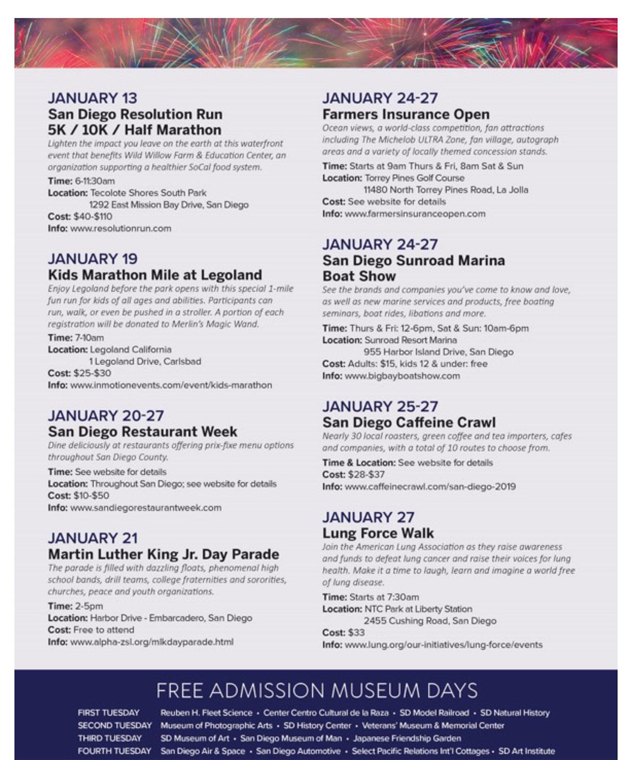 January 2019 Calendar of Events