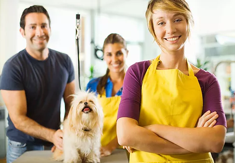veterinarians with a happy dog