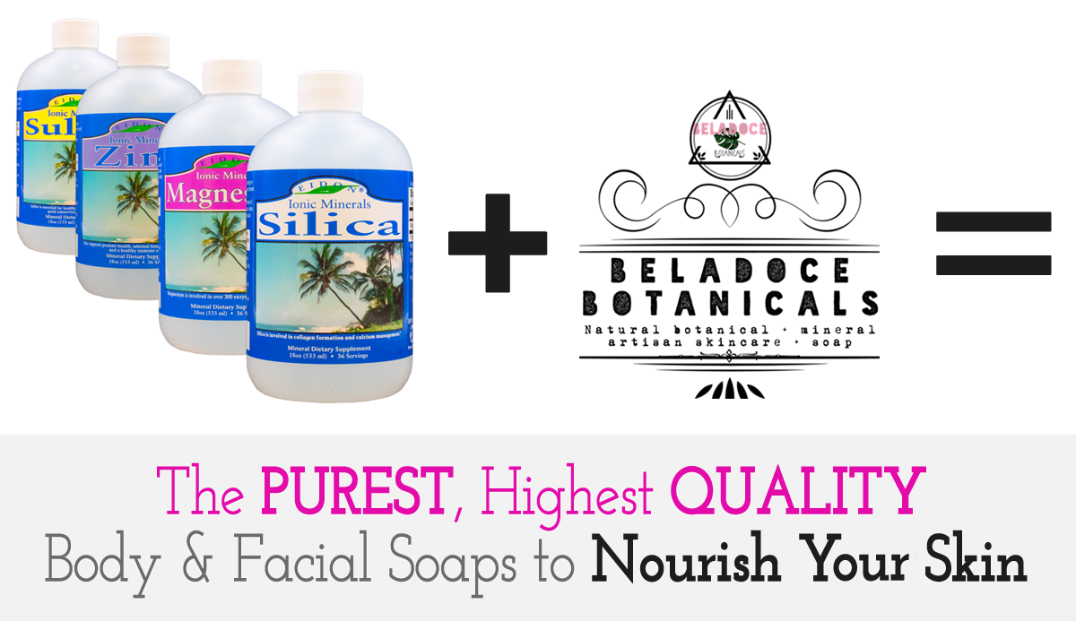 natural facial and body soaps, botanicals, silica, zinc, mineral soaps