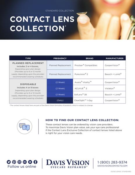 Davis standard collection Contact Lens selection