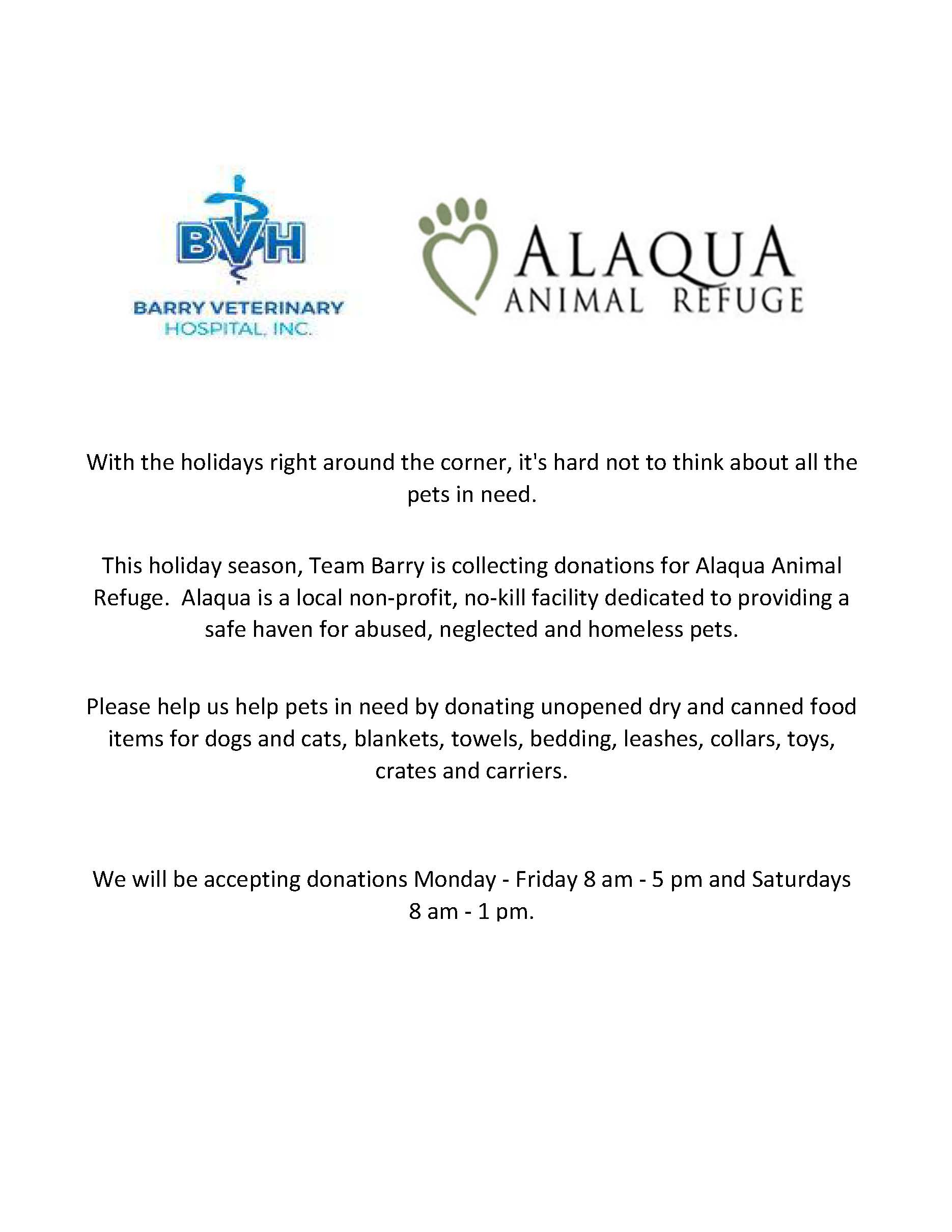 Holiday Donations for Alaqua