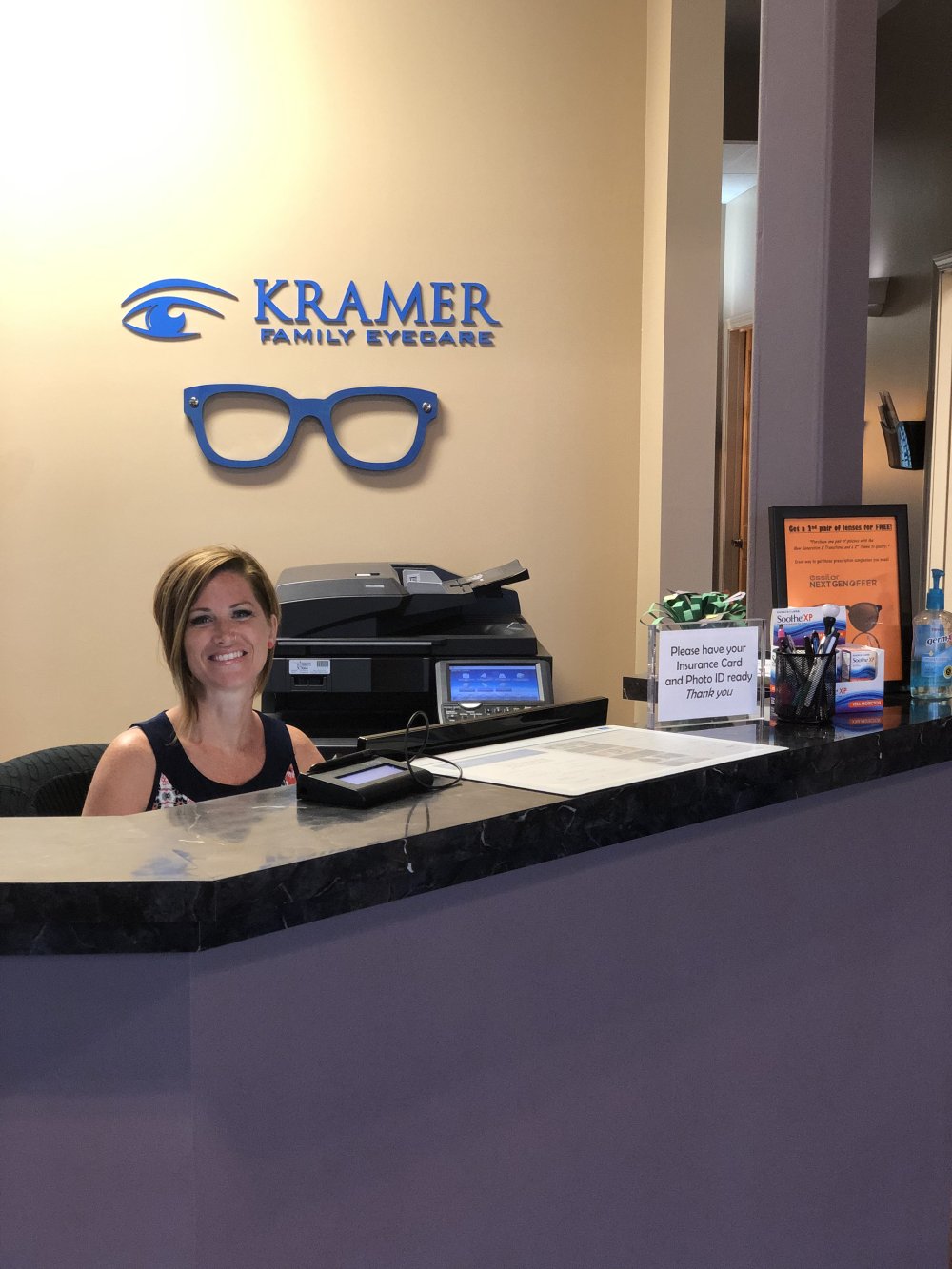 Front desk lady at Kramey Family Eyecare