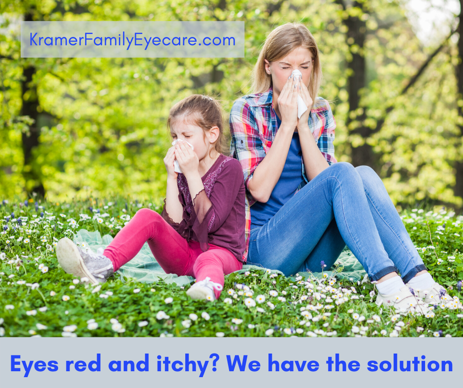 What are the causes of red and puffy eyes during allergy season?