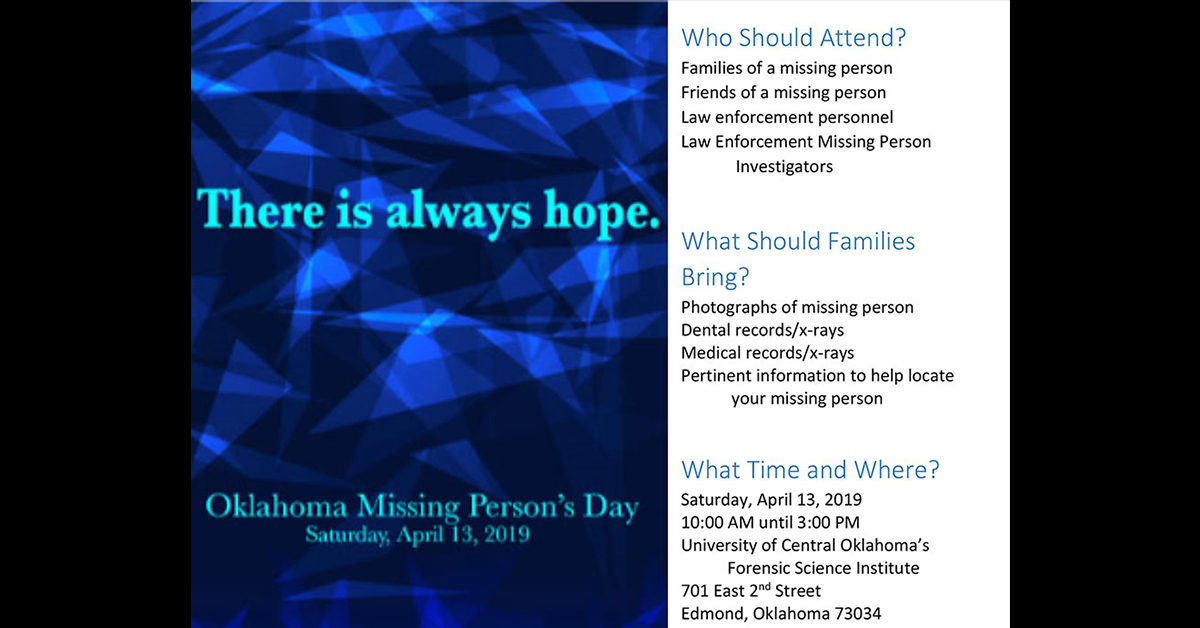 Oklahoma Missing Persons Day event set for April 13 in Edmond