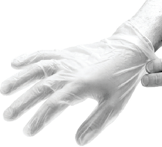 SMOOTH POWDERED VINYL GLOVES (#674-IV46100) - Click Here to See Product Details