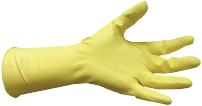 FLOCK LINED YELLOW LATEX GLOVES (#674-LY17L) - Click Here to See Product Details
