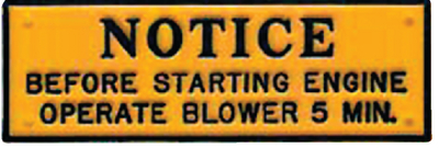 NOTICE - OPERATE BLOWER 5 MIN (#22-P201) - Click Here to See Product Details