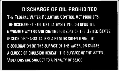 OIL DISCHARGE PLAQUE (#22-P204) - Click Here to See Product Details