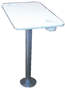 WHITE POLYMER TABLE WITH STOWABLE PEDESTAL (#3-75349) - Click Here to See Product Details