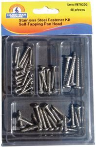 ASSORTED 48 PIECE STAINLESS STEEL PAN HEAD SELF-TAPPING SCREW KIT (#8-970200) - Click Here to See Product Details