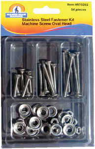ASSORTED 54 PIECE STAINLESS STEEL OVAL MACHINE SCREW KIT (#8-970202) - Click Here to See Product Details