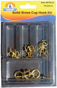 ASSORTED 16 PIECE BRASS CUP HOOK KIT (#8-970212) - Click Here to See Product Details