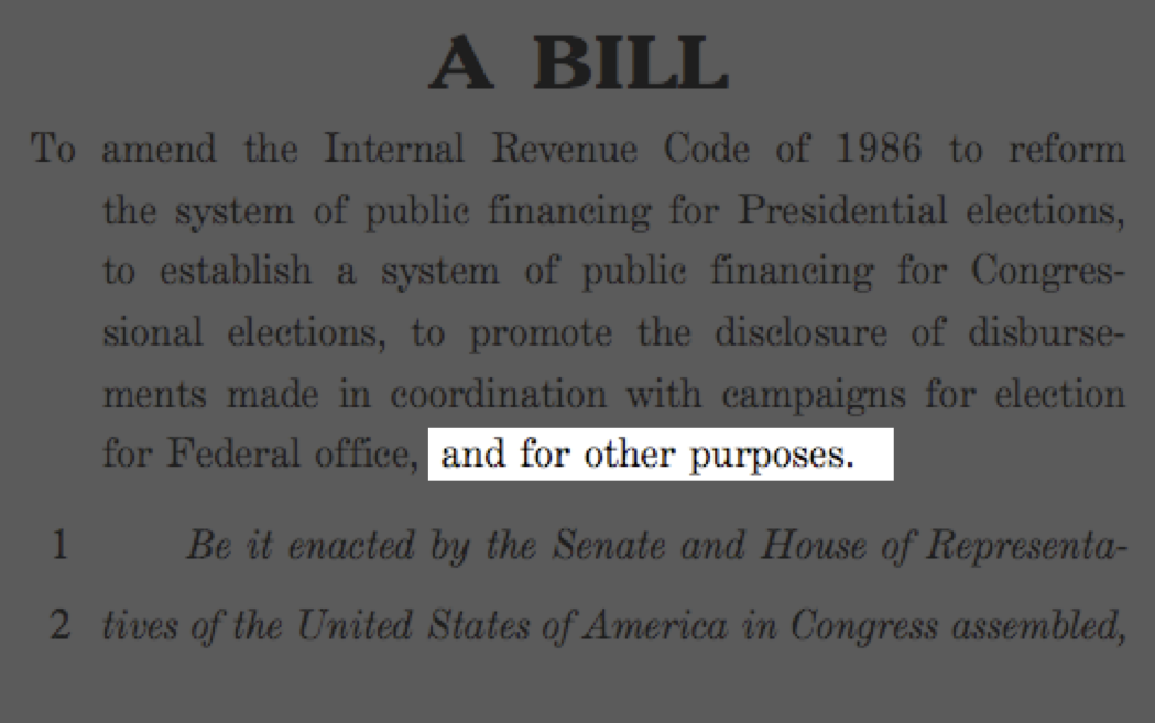 "Bill Draft: ""and for other purposes"""