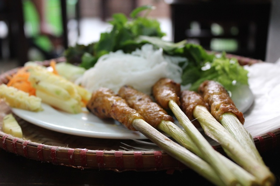 nem lụi huế beef and pork skewers Vietnam