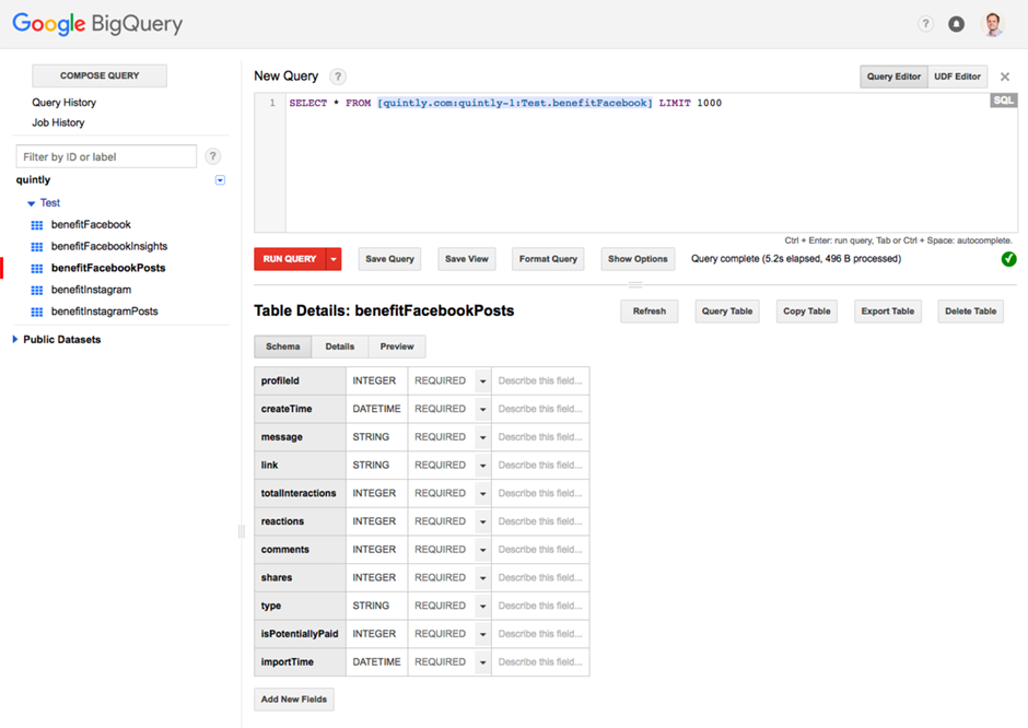 integrate quintly BigQuery