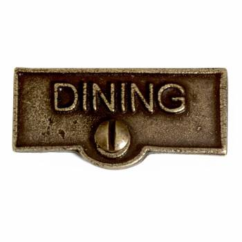 Switch Plate Tags DINING Name Signs Labels Cast Brass