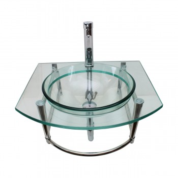 Small Glass Sink with Faucet Wall Mount