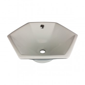 Bathroom Vessel Sink White China Porcelain Hexagon