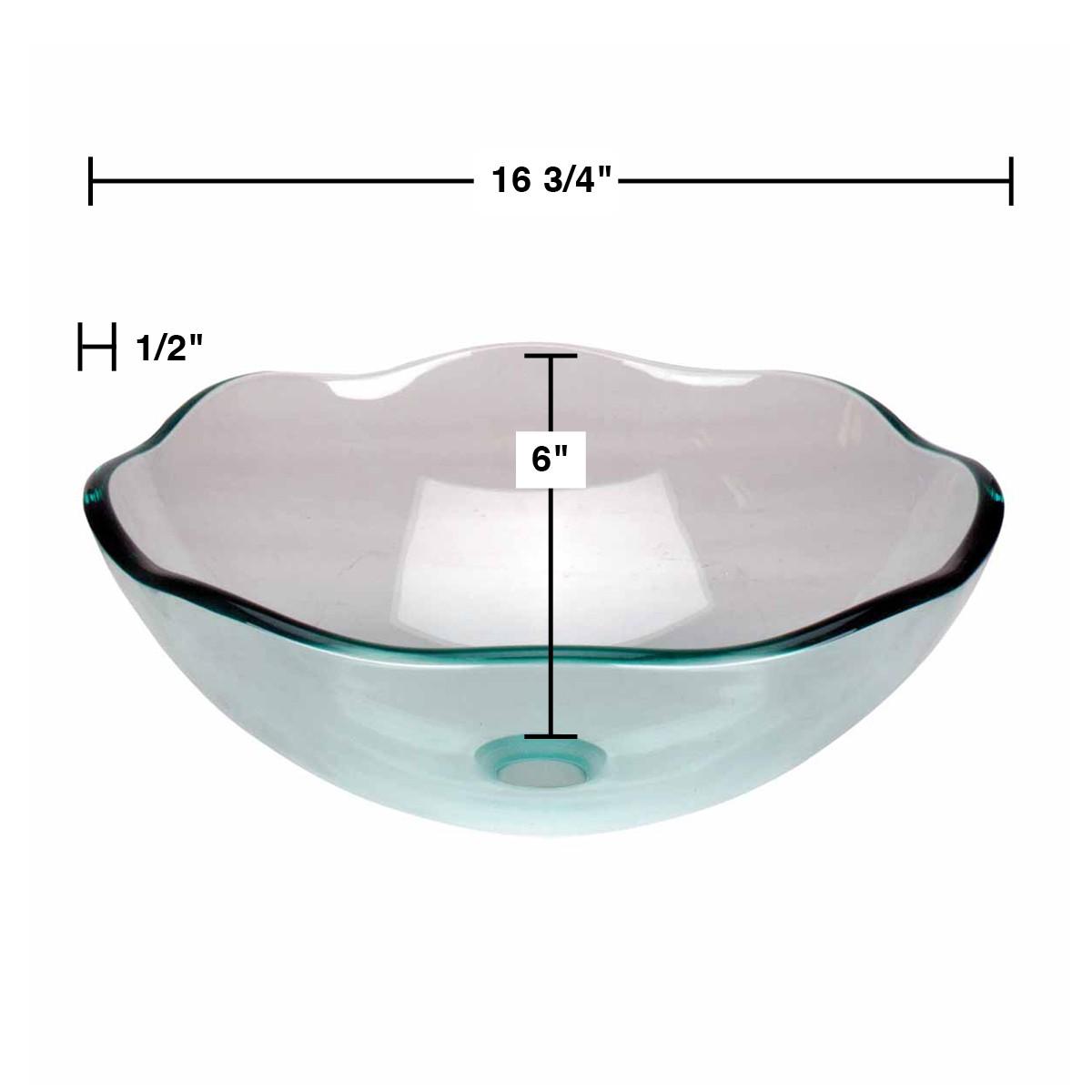 Glass Vessel Bathroom Sink Flower Shape Green Clear Drain In