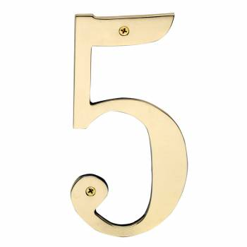 Cast Solid Brass 8 Address House Number 5