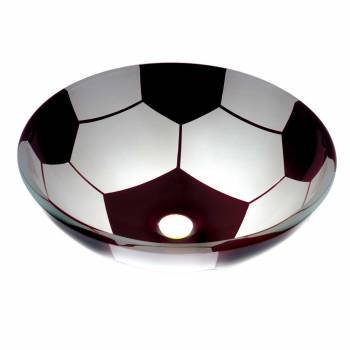 Tempered Glass Vessel Soccer Ball Bathroom Sink Popup In