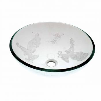 Tempered Glass Vessel Bathroom Sink Eagle Etched Popup In