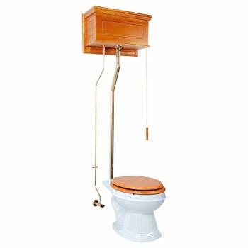 High Tank Toilet Elongated Oak Tank White Brass L Pipe