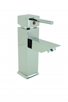 Bathroom Faucet Chrome Plated Square Single Hole 1 Handle