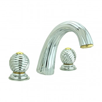 Bathroom Faucet Chrome Swirl Widespread Ball 2 Handles