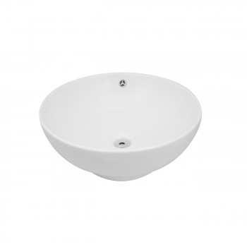 Above Counter Round Bathroom White Vessel Sink