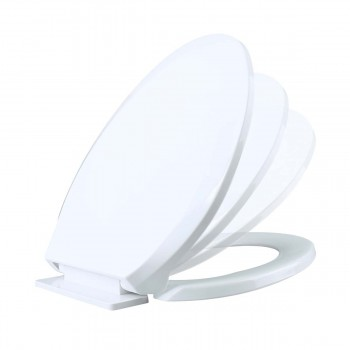 Toilet Seat Slow EZ Close No Slam Plastic Elongated White