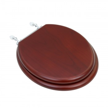 Toilet Seat Round Hardwood Cherry Finish Chrome Hinge